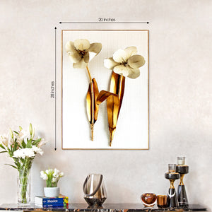 Printed Twin Golden Leaf Framed Canvas Wall Print