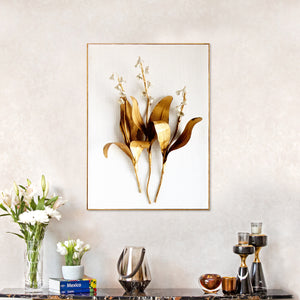 Printed Golden Leaves Framed Canvas Print
