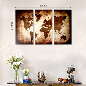 3 Panel World Map Framed Canvas Print