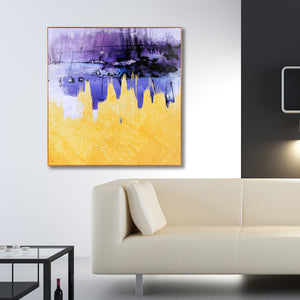 Twin Peaks Abstract Purple Framed Canvas Print