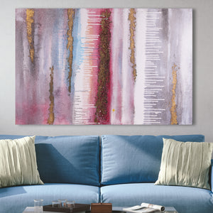 The Grand Canyon Pink and Gold Foil Abstract 100% Hand Painted Wall Painting