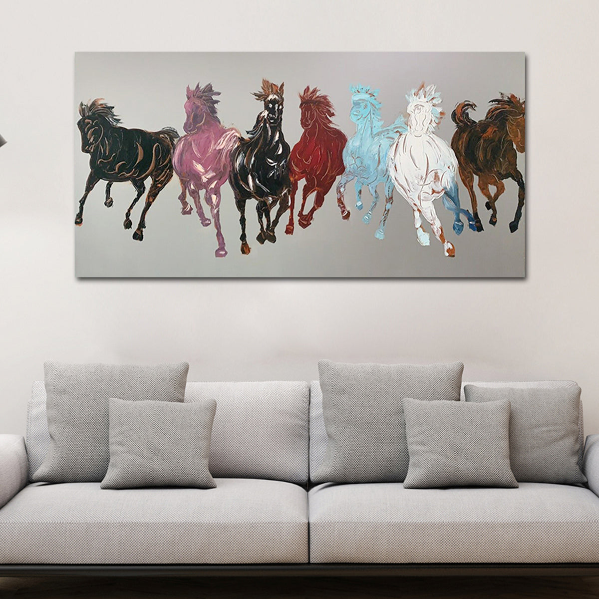 Buy Online Seven Running Horses Hand Painted Wall Painting Dekor Company
