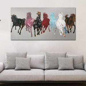 Seven Running Horses Silver Canvas 100% Hand Painted Wall Painting