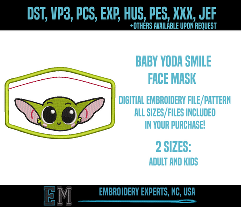Corona virus face mask embroidery Baby Yoda Embroidery Design FILE