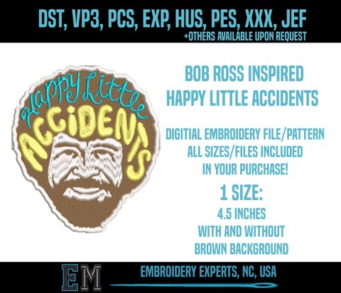 "Corona virus face mask embroidery Bob Ross ""Happy Little Accidents"" Digitial Embroidery File"