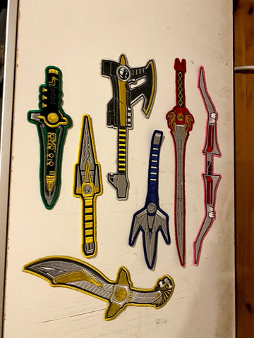 Mighty Morphin Power Ranger Replica Weapons Embroidered Patches