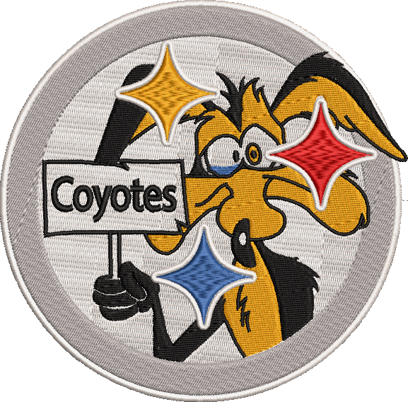 Corona virus face mask embroidery Pittsburg Coyotes (Steelers Inspired) Parody Embroidery Design 3 Sizes!