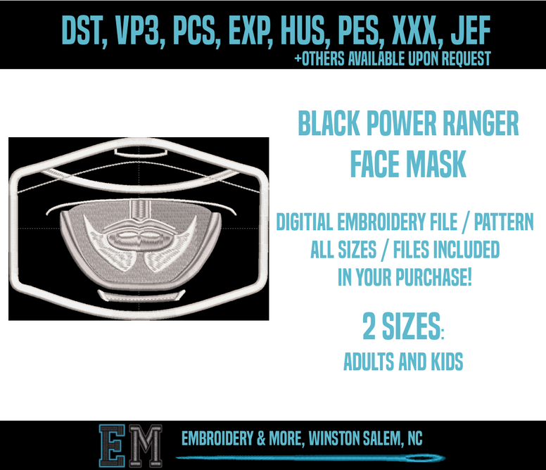 Black Power Ranger Face Mask Embroidery Design FILE