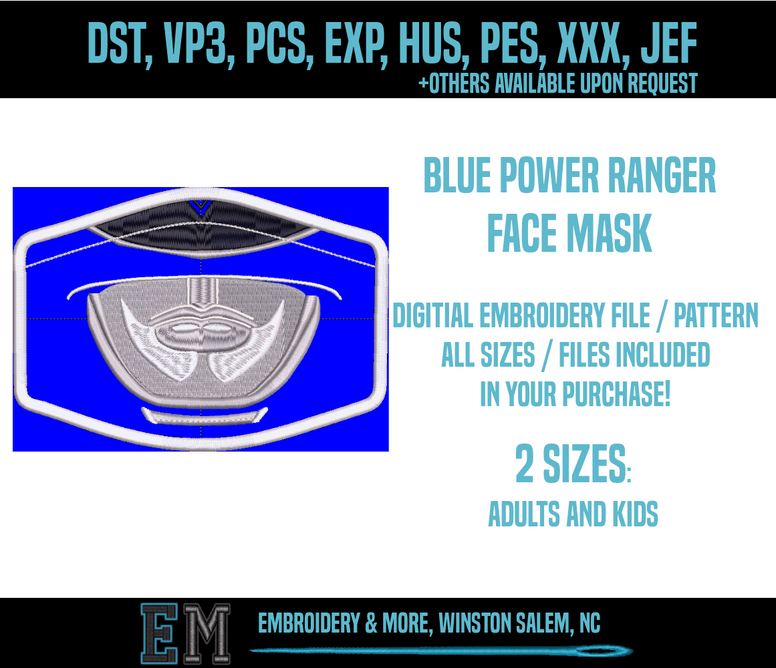 Blue Power Ranger Face Mask Embroidery Design FILE