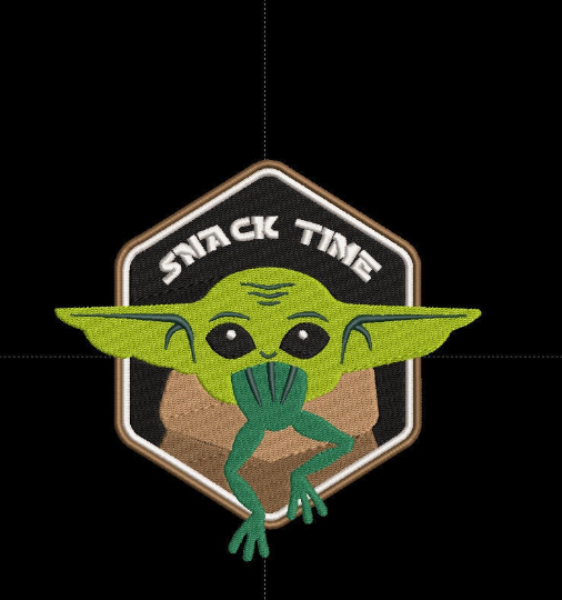 Corona virus face mask embroidery Baby Yoda Snack Time Embroidery Design 3 Sizes Including Hat