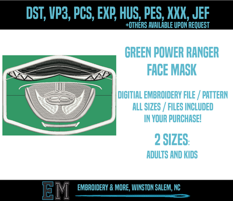 Green Power Ranger Face Mask Embroidery Design FILE