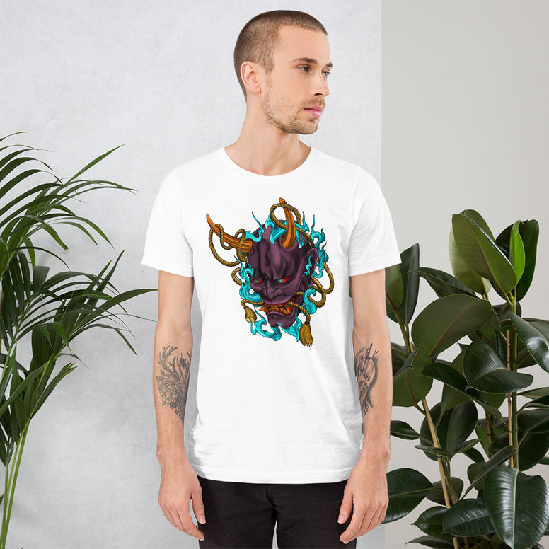 Corona virus face mask embroidery Hannya Mask Short-Sleeve Unisex T-Shirt