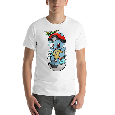 Corona virus face mask embroidery Squirtle American Traditional Short-Sleeve Unisex T-Shirt