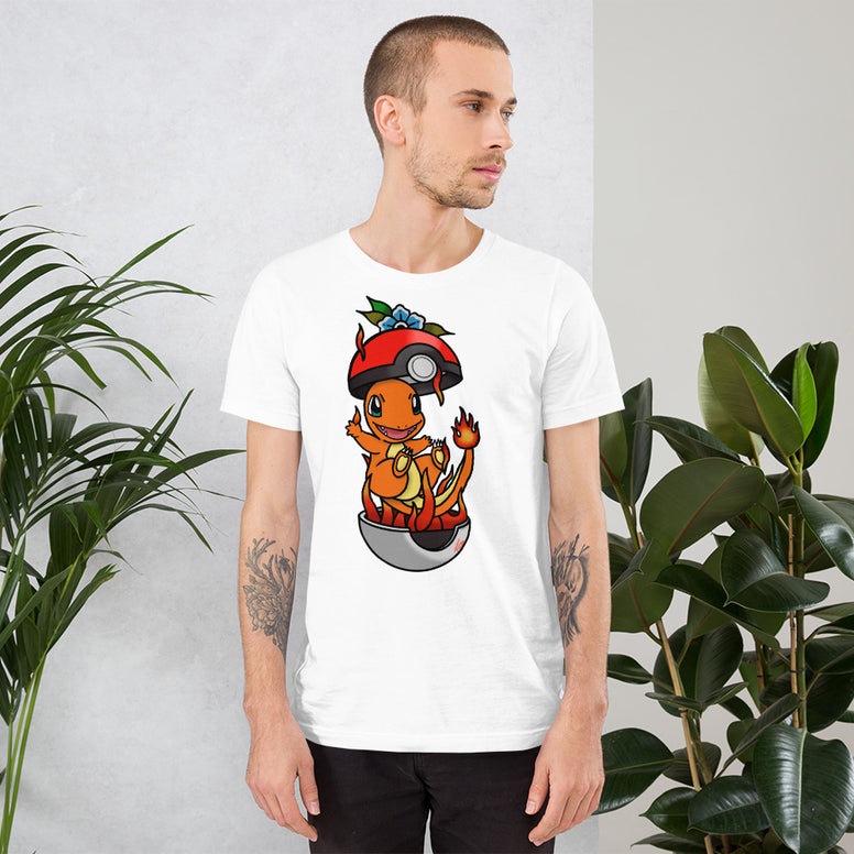 Corona virus face mask embroidery Charmander American Traditional Short-Sleeve Unisex T-Shirt
