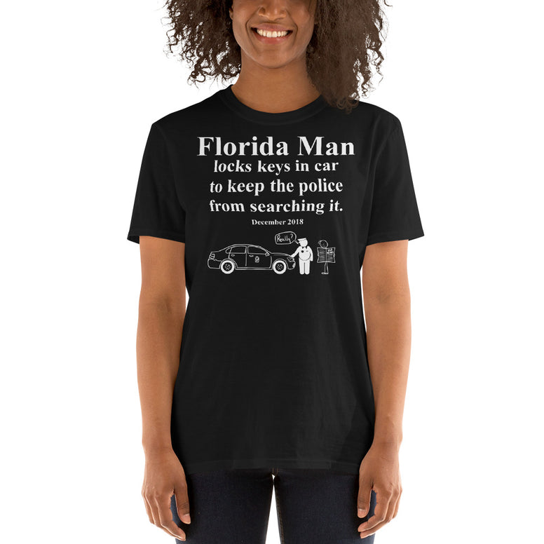 Corona virus face mask embroidery Florida Man December 2018 Gildan 64000 Unisex Softstyle T-Shirt with Tear Away Label