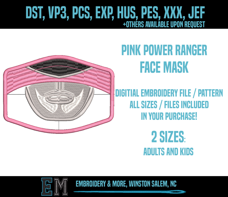 Pink Power Ranger Face Mask Embroidery Design FILE
