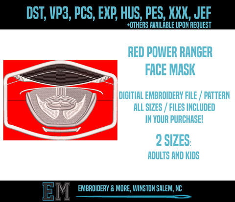 Red Power Ranger Face Mask Embroidery Design FILE
