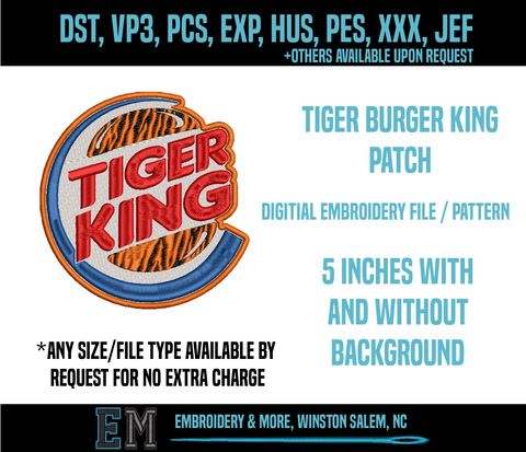 Tiger Burger King Embroidery File
