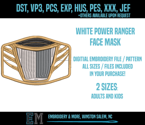 White Power Ranger Face Mask Embroidery Design FILE