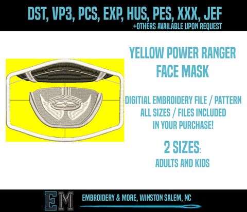 Yellow Power Ranger Face Mask Embroidery Design FILE