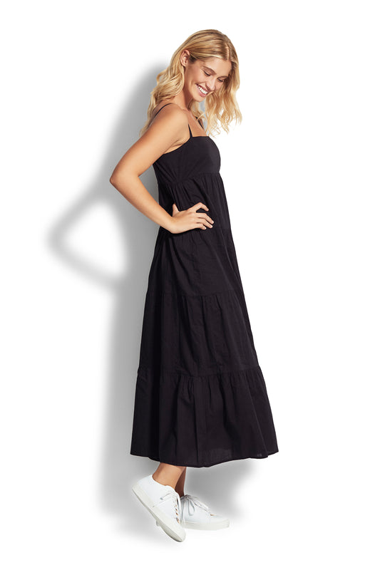 Safari Spot Black Tiered Dress