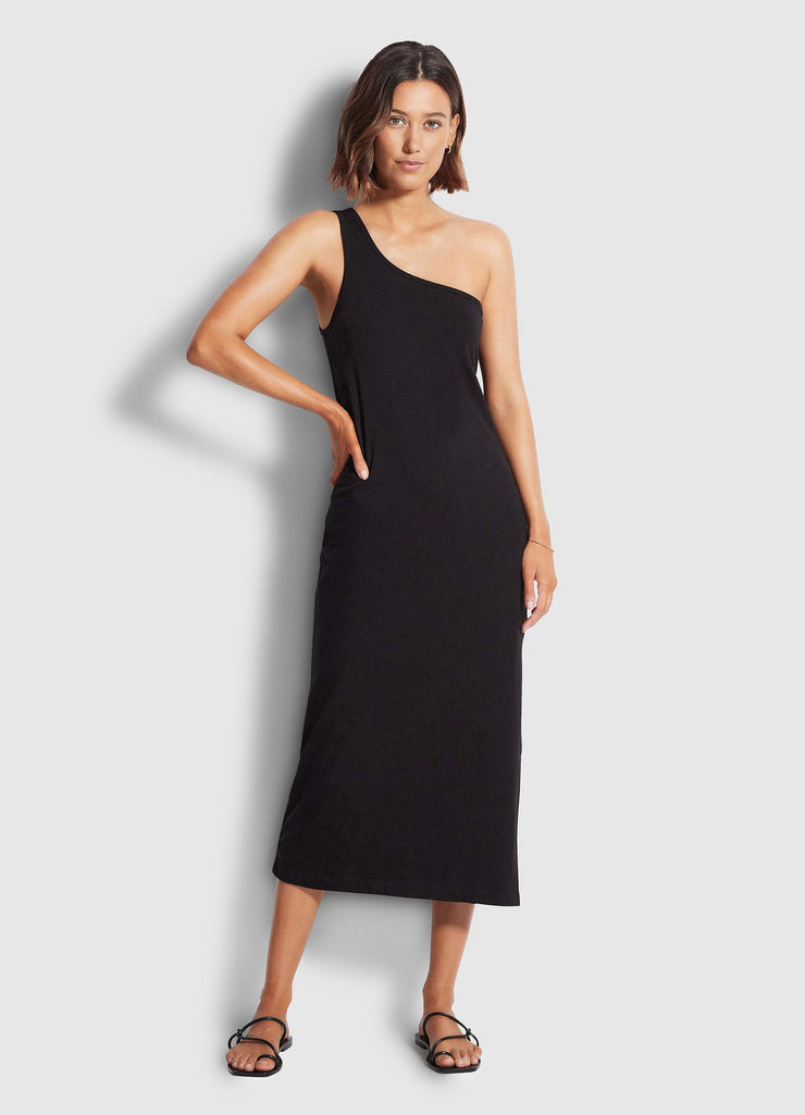 Jersey One Shoulder Midi Dress