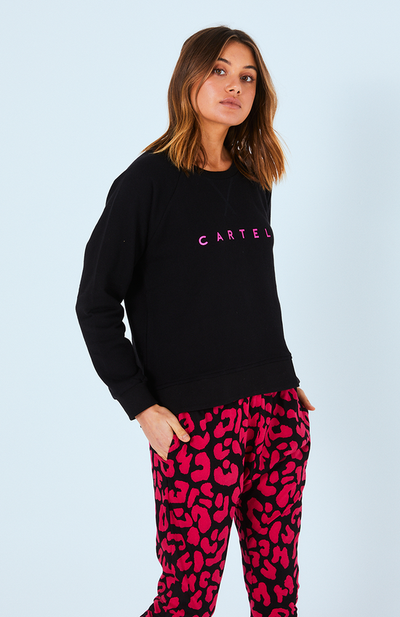 Haven Logo Sweater - Fuschia Logo