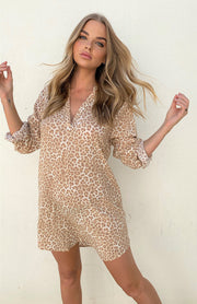 Beach Shirt Dress - Tan Leopard
