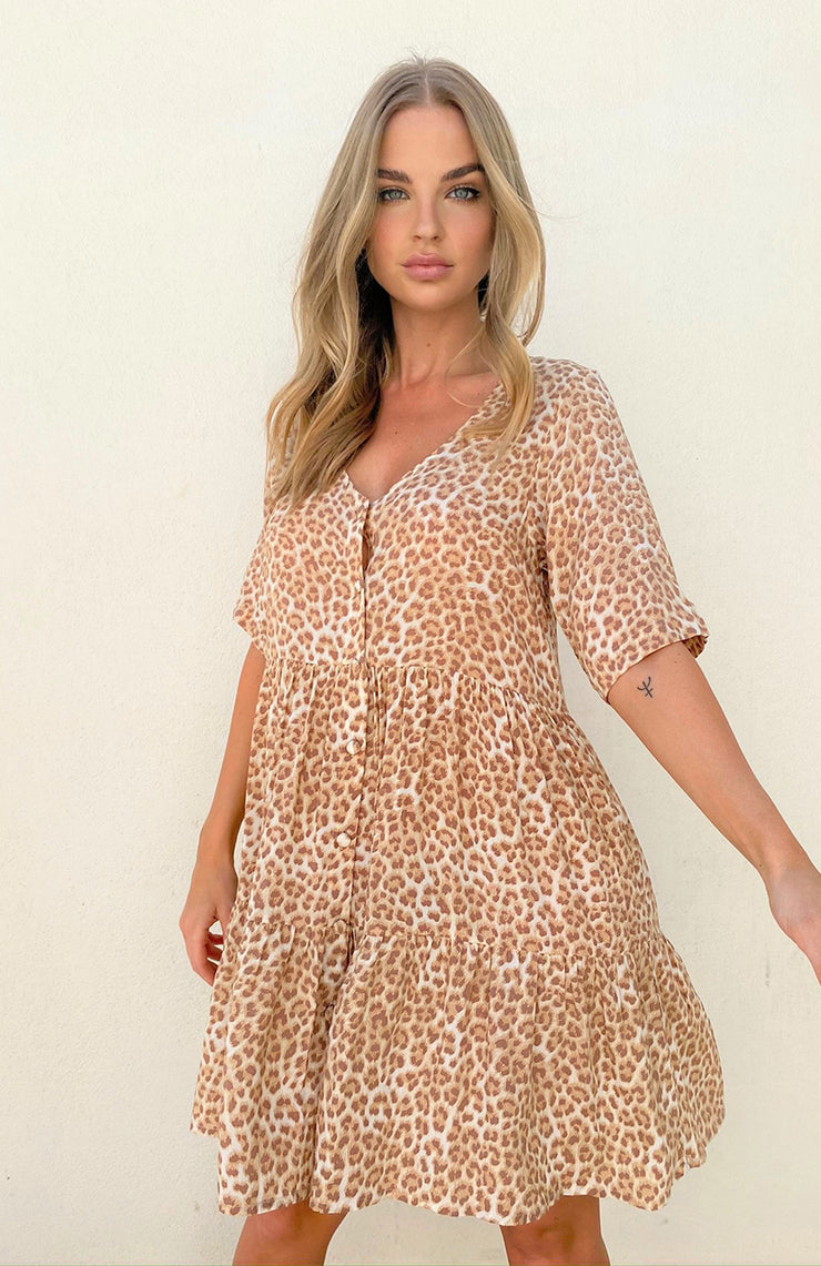 Selena Mini Dress - Tan Leopard