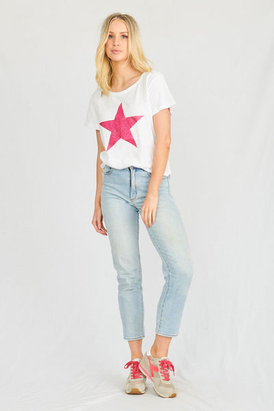 Starship Tee - White/Red Blush