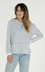 Clé Margo Sweater - White and Navy Stripe