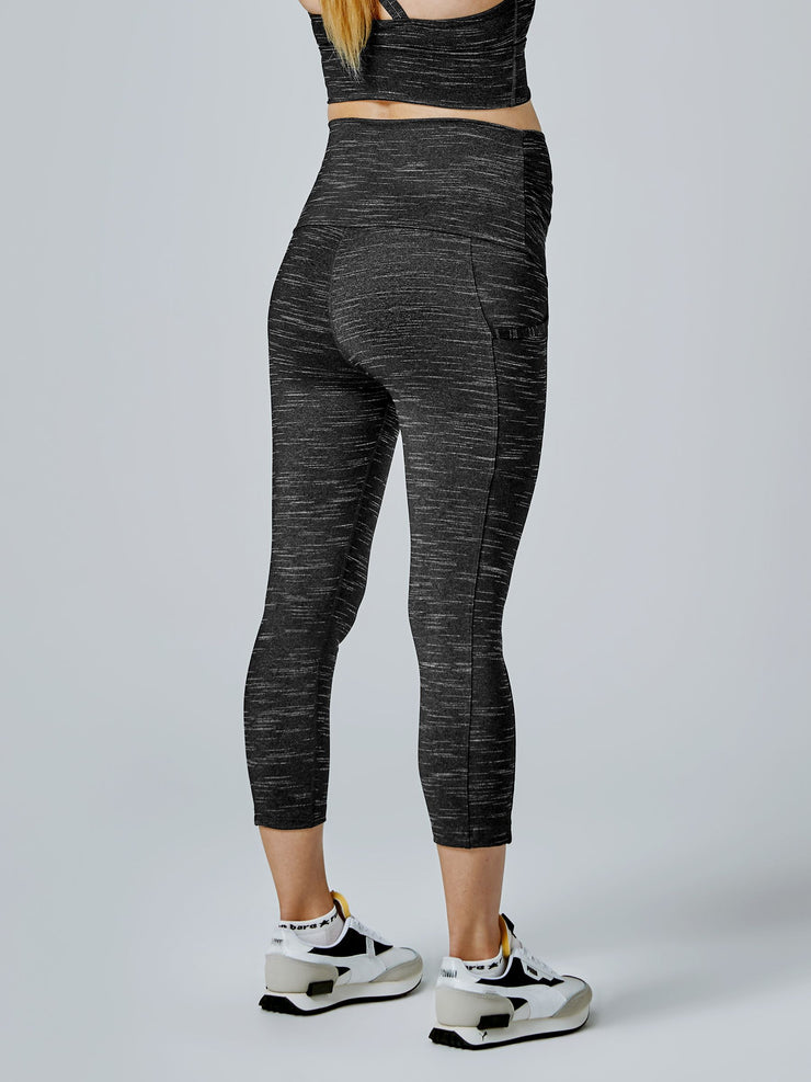 Maternity Power Moves 7/8 Tight - Black Marl