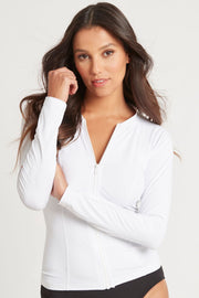 Essentials Long Sleeve Rash Vest - Full Zipper