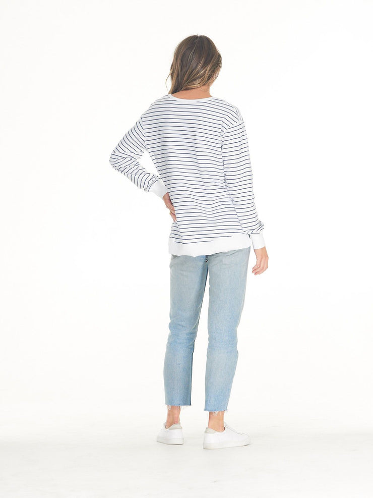 Clé Addyson Sweater - White/Indigo Stripe