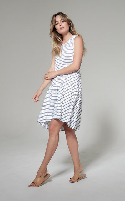 Clé Hailey Dress - White / Indigo Stripe