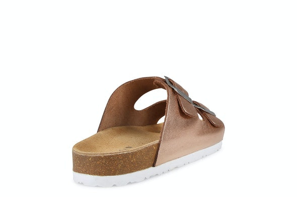 Human Shoes Laken Leather Slide - Rose Gold