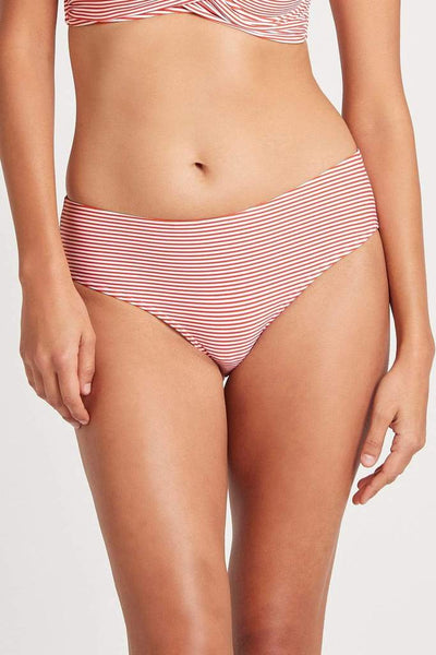 Positano Stripe Mid Bikini Pant - Orange