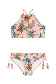 Tropical Fusion Ruched Neck Tankini