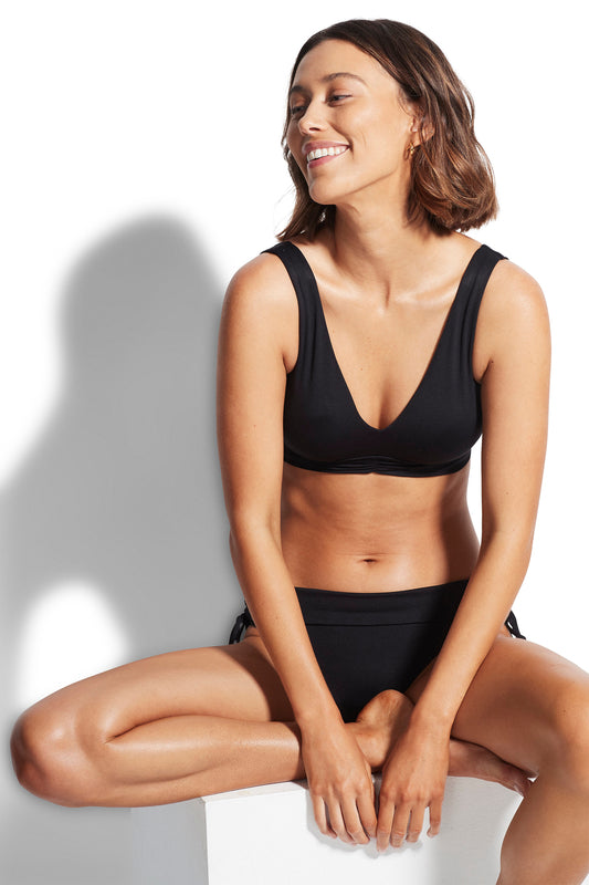 Seafolly V Neck Crop Top - Black