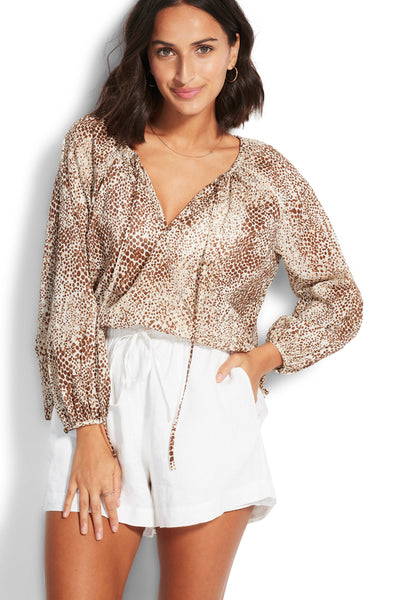 Serpentine Boho Top - Chocolate