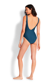 Mini Rib High Neck Maillot - Marine