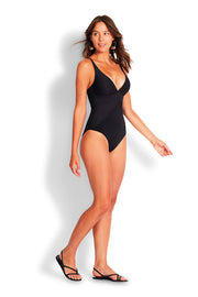 Mini Rib C/D V Neck Maillot - Nero