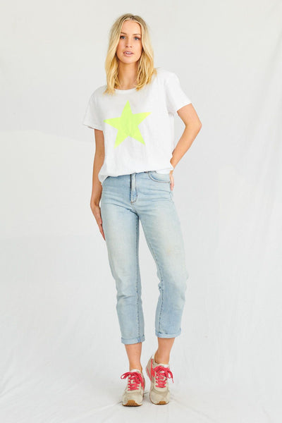 Starship Tee - White/Neon Yellow