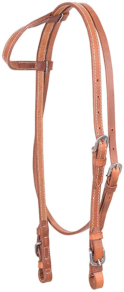 Cashel Stitched Harness Leather One Ear Headstall with Throatlatch