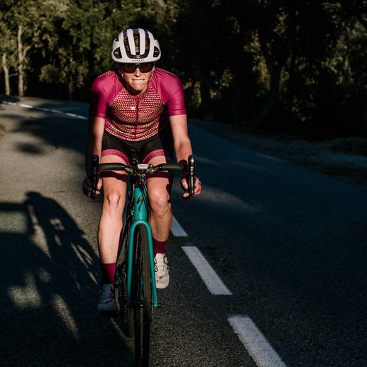 Maroon womens cycling jersey