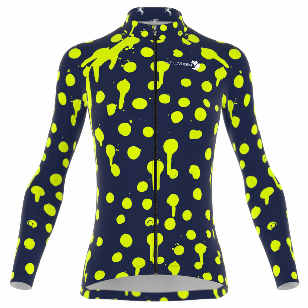 VeloVixen Bodyline Long Sleeve women's cycling Jersey - Splat Zest