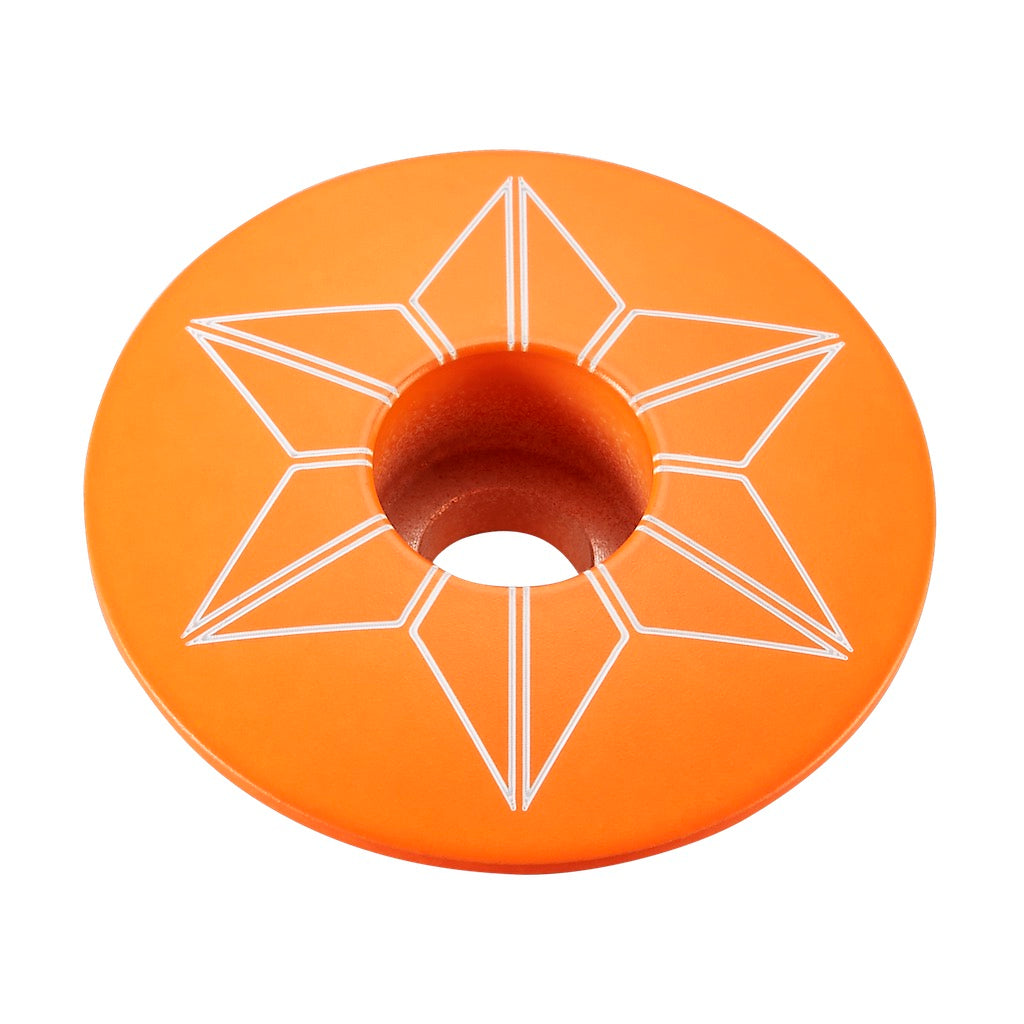 Supacaz Star Capz Stem Caps - Powder Coat Neon Orange  | VeloVixen