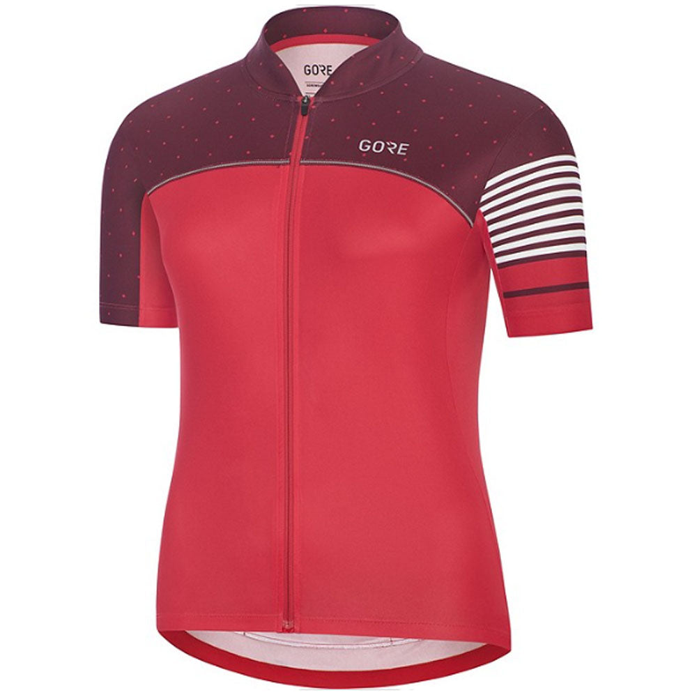 Gore C5 Women's Cycling Jersey - Hibiscus Pink/Chestnut Red | VeloVixen