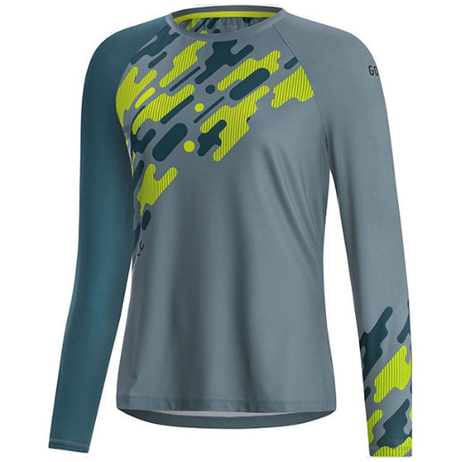 Gore C5 Trail Women's Long Sleeve Cycling Jersey - Nordic/Citrus Green | VeloVixen