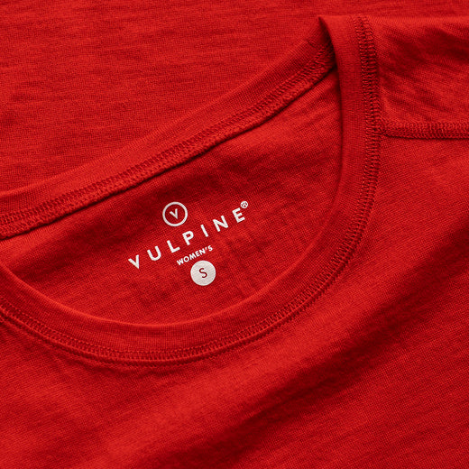 Vulpine Merino Crew Tee - Atomic Red